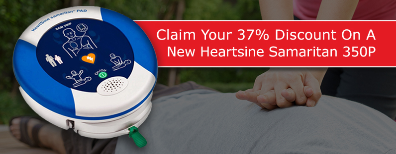 Claim 37% discount on New Heartsine Samaritan 350P DEFIBRILLATORS