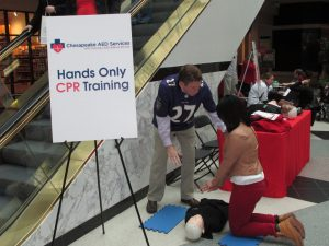 Chesapeake AED Services demonstrated Hands Only CPR at Macy's of Towson Town Center Mall