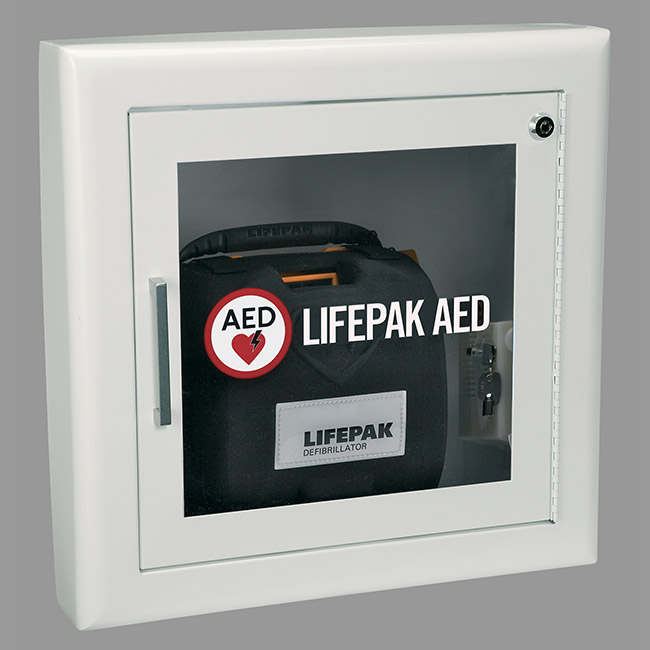 PHYSIO-CONTROL AED WALL CABINET WITH ALARM, FIRE RATED-WHITE SEMI-RECESSED