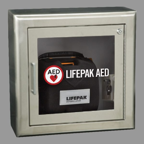 AED Wall Cabinet with Alarm & Strobe-White Surface Mount