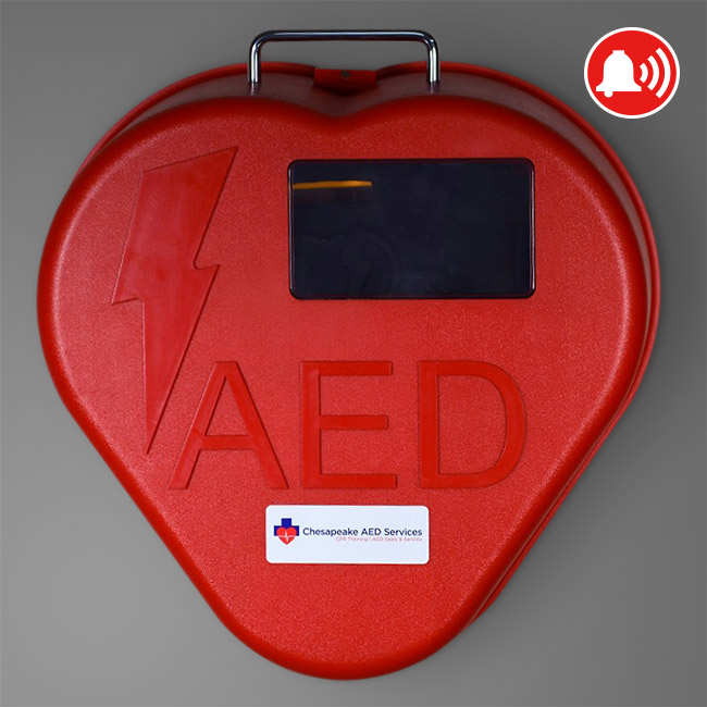 HEART STATION AED CABINET, RED HEART SHAPE
